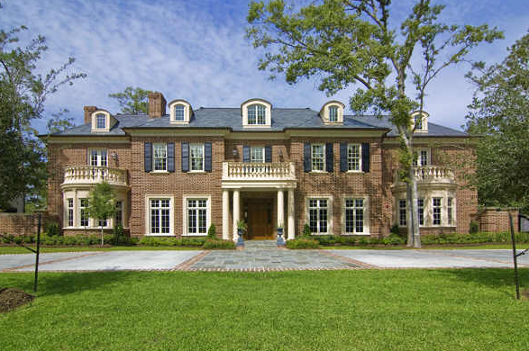 new colonial mansion constructed in piney point village
