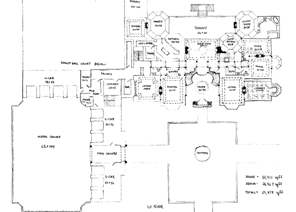 floor plans to james' mega mansion design | homes of the rich
