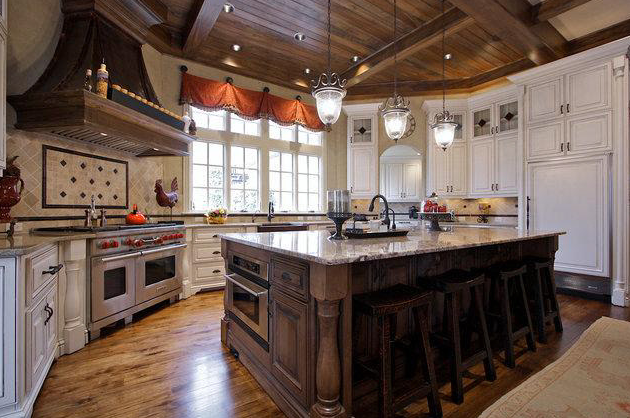 Coffered ceiling and stone fireplace vaulted keeping room with - Country Elegance In Franklin Tn Homes Of The Rich