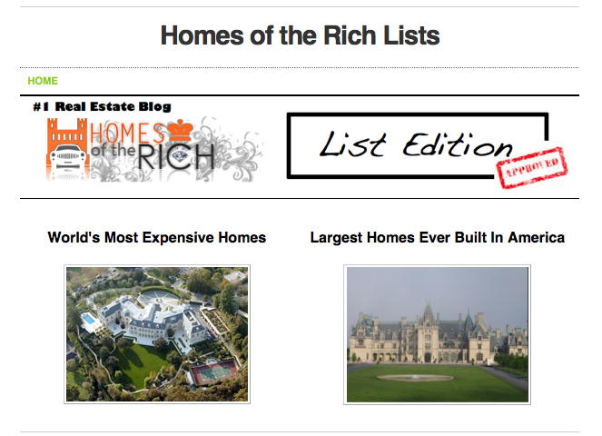 Homes of the Rich Lists