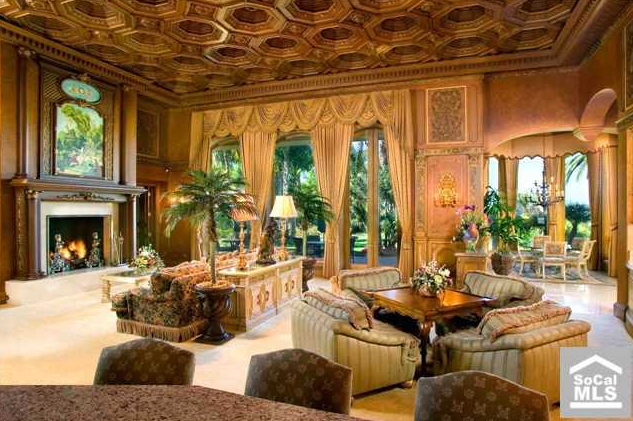 Luxury apartment interior - Rancho Santa Fe Mansion With Elaborate Old World Interior