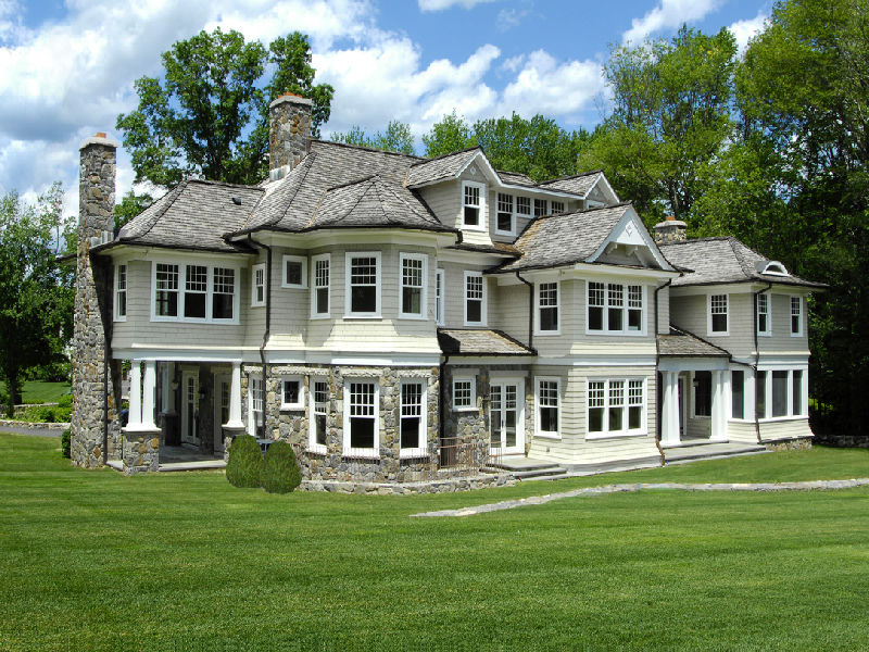 Evergreen lodge a newly built stone and shingle colonial for Connecticut home builders