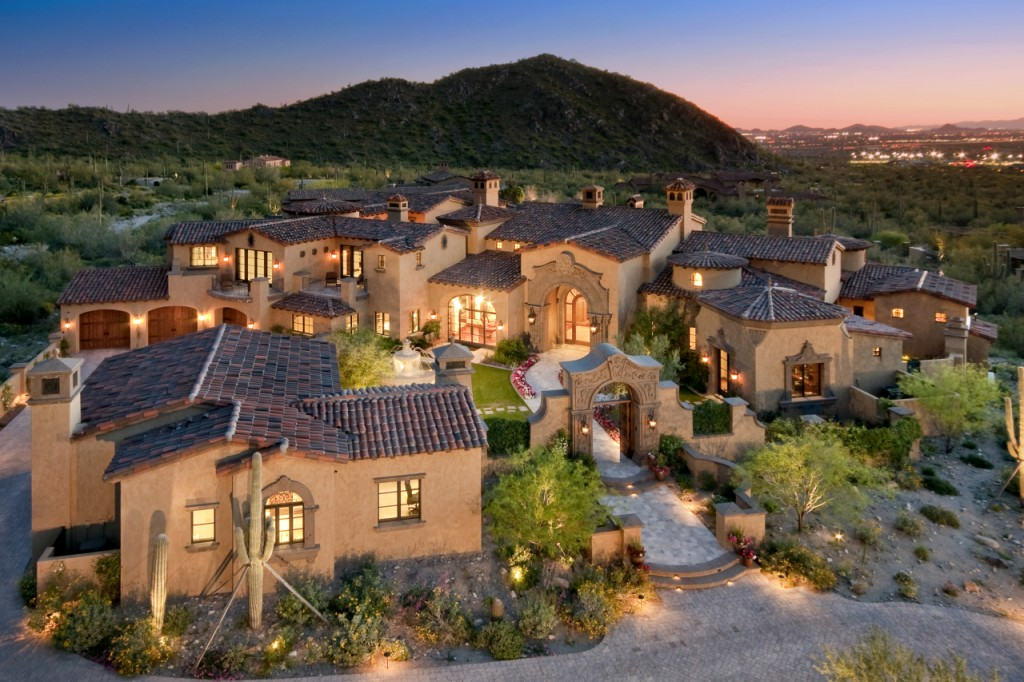 Newly built spanish colonial estate in scottsdale az - The living room dc ranch scottsdale ...