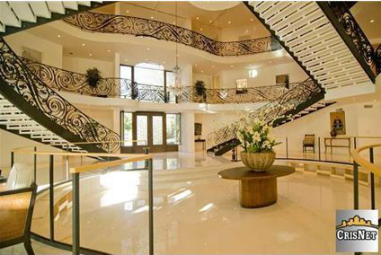 Newly built studio city mansion with huge 3 story foyer for 3 story house