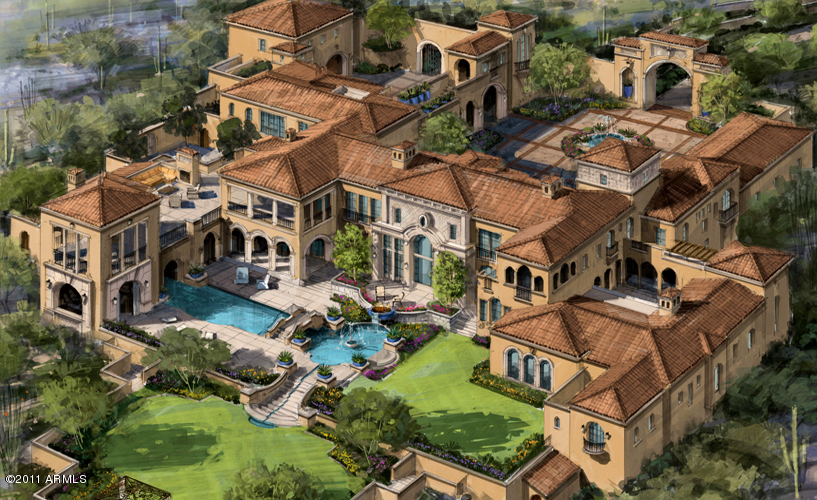Proposed spanish mediterranean estate in scottsdale az for Mediterranean mansion floor plans