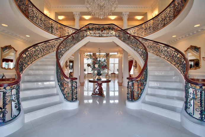 Beautiful Double Marble Staircase In Wheaton Il Luxury