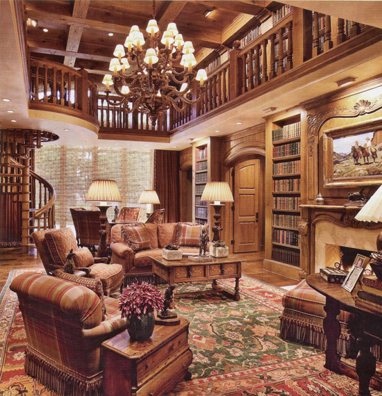 A look at some 2 story home libraries homes of the rich for House plans with 2 story library