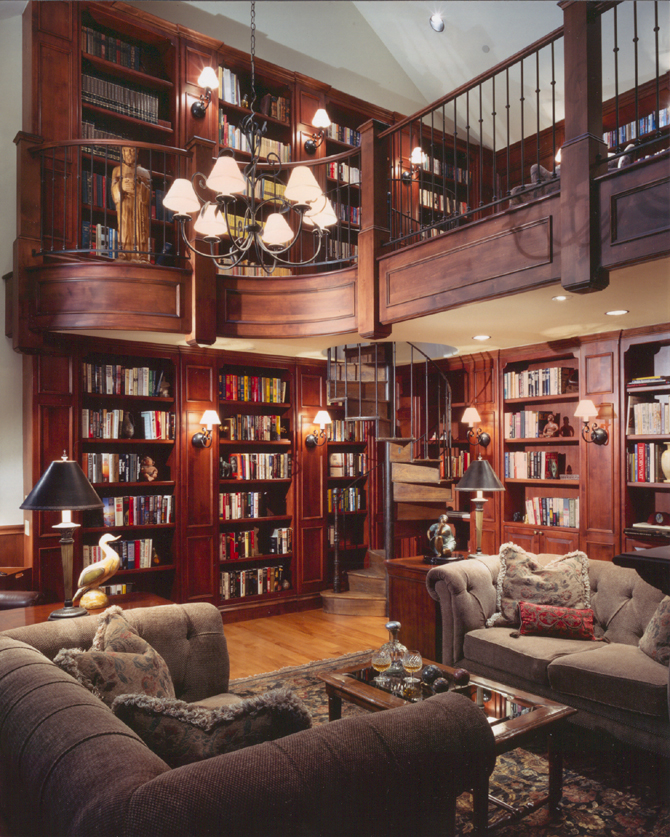A look at some 2 story home libraries homes of the rich - Books on home design ...