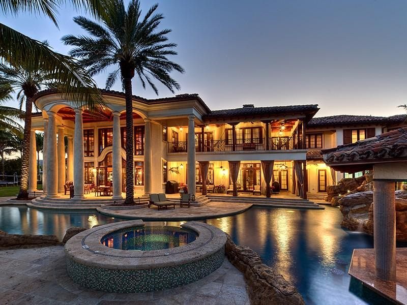 22 million mediterranean waterfront estate in fort for Beautiful rich houses