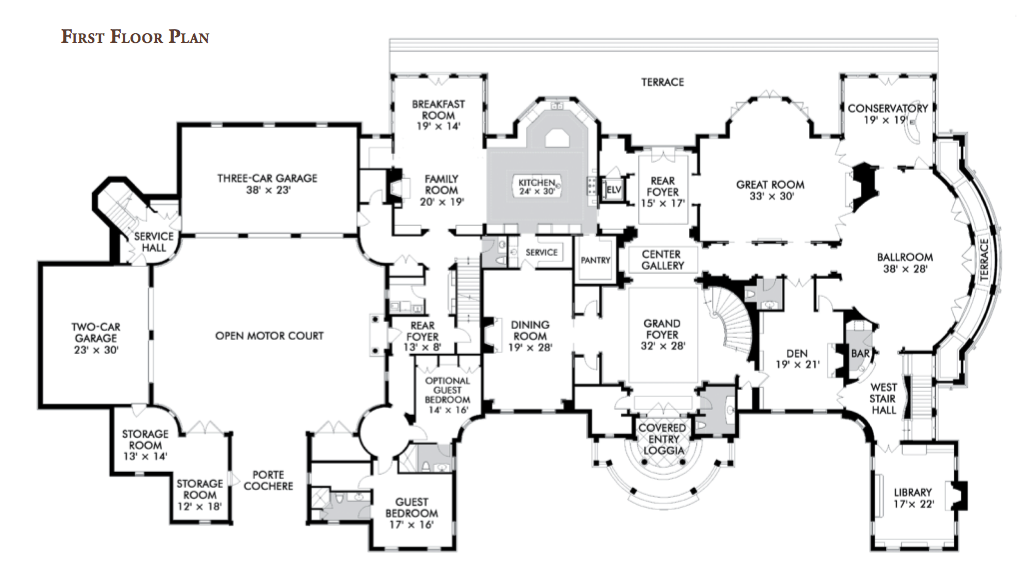 Floorplans homes of the rich for Modern castle floor plans