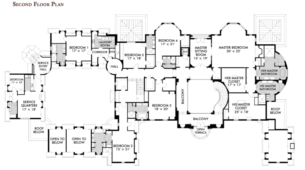 Floorplans homes of the rich the 1 real estate blog for Huge mansion floor plans