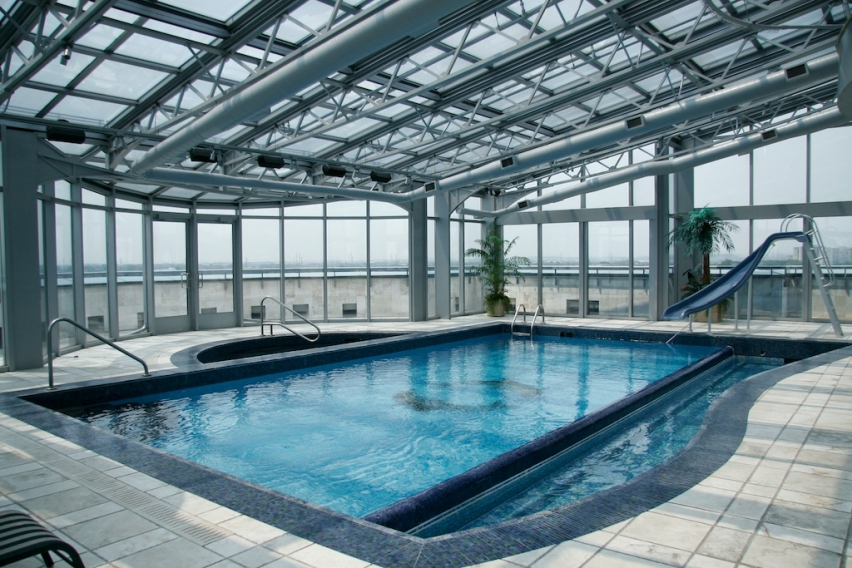 12 million 16 000 square foot penthouse in ontario for Indoor pool with retractable roof