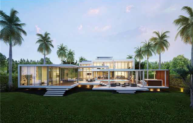 Proposed 32 million modern mansion on miami beach s star for Star island miami houses