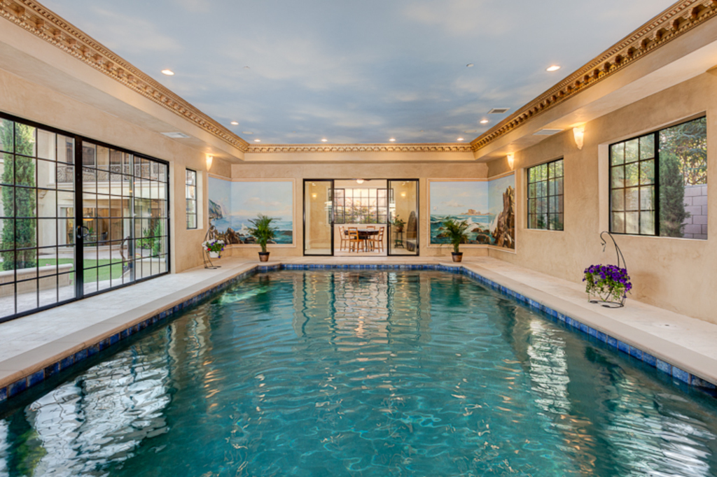 French manor new build in arcadia ca with separate indoor for Building an indoor pool at home