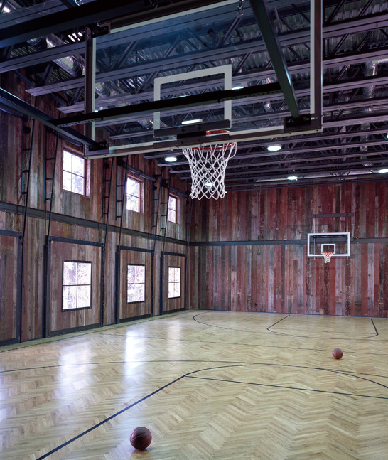 A look at some private indoor basketball courts from houzz for Indoor basketball court plans