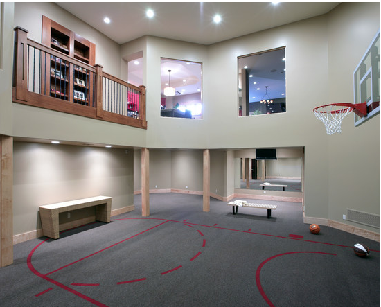 Mansion with indoor basketball court  A Look At Some Private Indoor Basketball Courts From Houzz.com ...