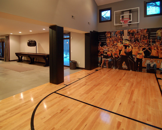 A look at some private indoor basketball courts from houzz for Basketball court inside house