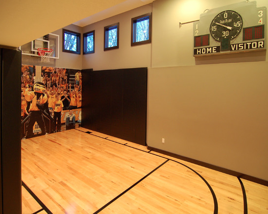 A look at some private indoor basketball courts from houzz for Basement sport court