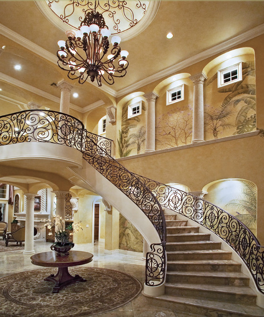 Here Is A Look At Some Grand Foyers From Houzz Have Double Staircases Curved Wooden Banisters Wrought Iron