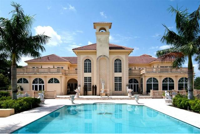 Gaudy 25 000 square foot mega mansion in southwest ranches for Mega mansions in florida