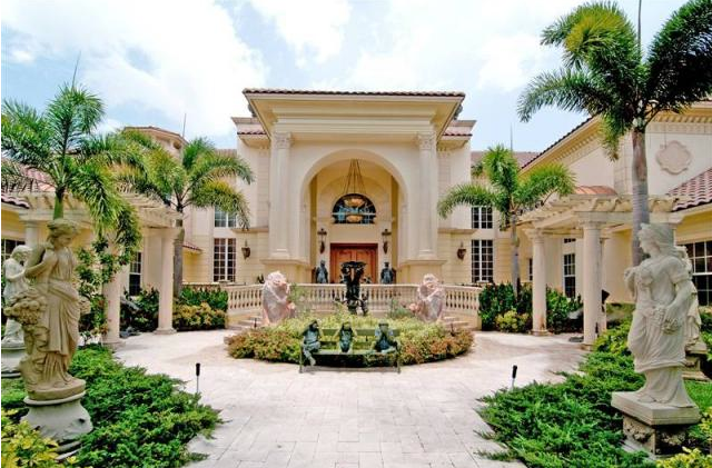 gaudy 25,000 square foot mega mansion in southwest ranches, fl