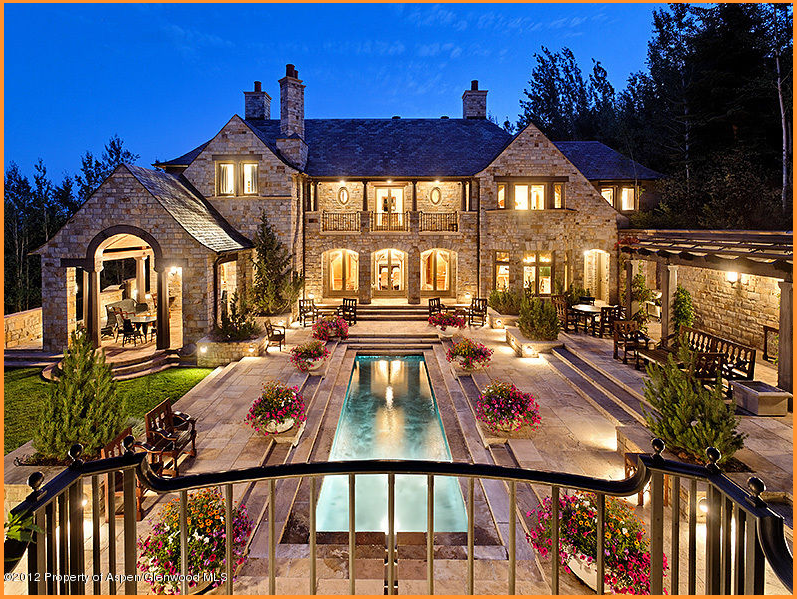 Stunning million french country mansion in aspen for Big mansion homes for sale