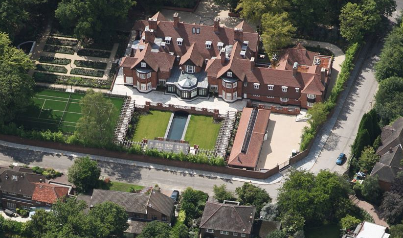 $163 million london mega mansion now visible in bird's eye view