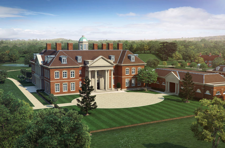 Artist s impression of a new country estate in england by for Big modern houses in england