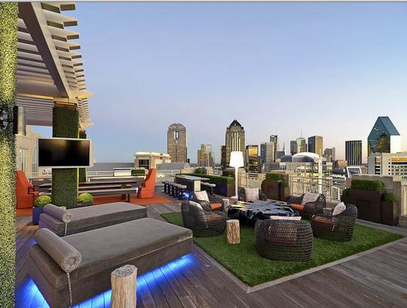 A Modern Luxury Rooftop Garden Overlooking The Skyline Of