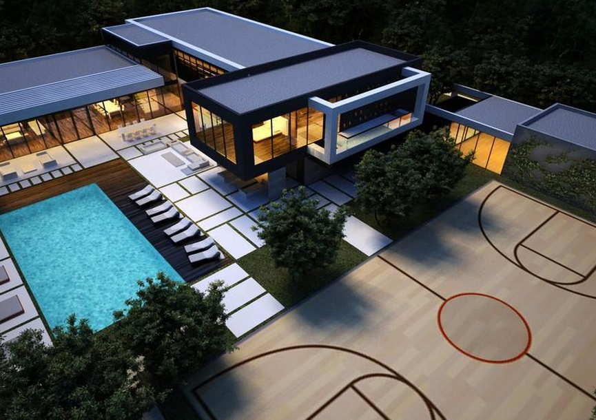 11 9 million to be built modern mansion in miami fl for Basketball court at home