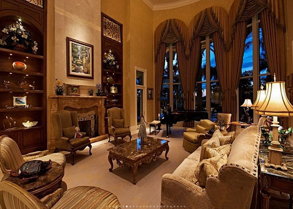 15 000 square foot lakefront mansion in naples fl homes for Living room night