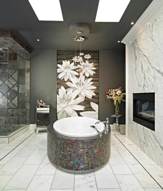 A Look At Some Bathrooms With Fireplaces From Homes Of The Rich