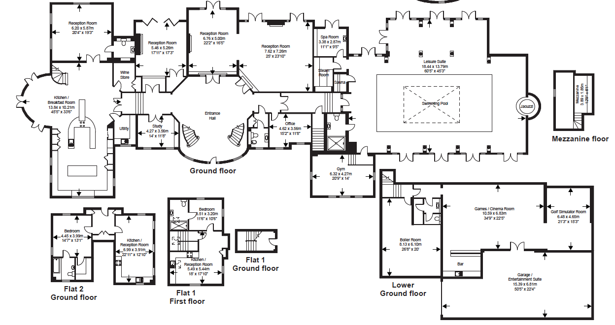 Mega mansion home plans for Estate home floor plans