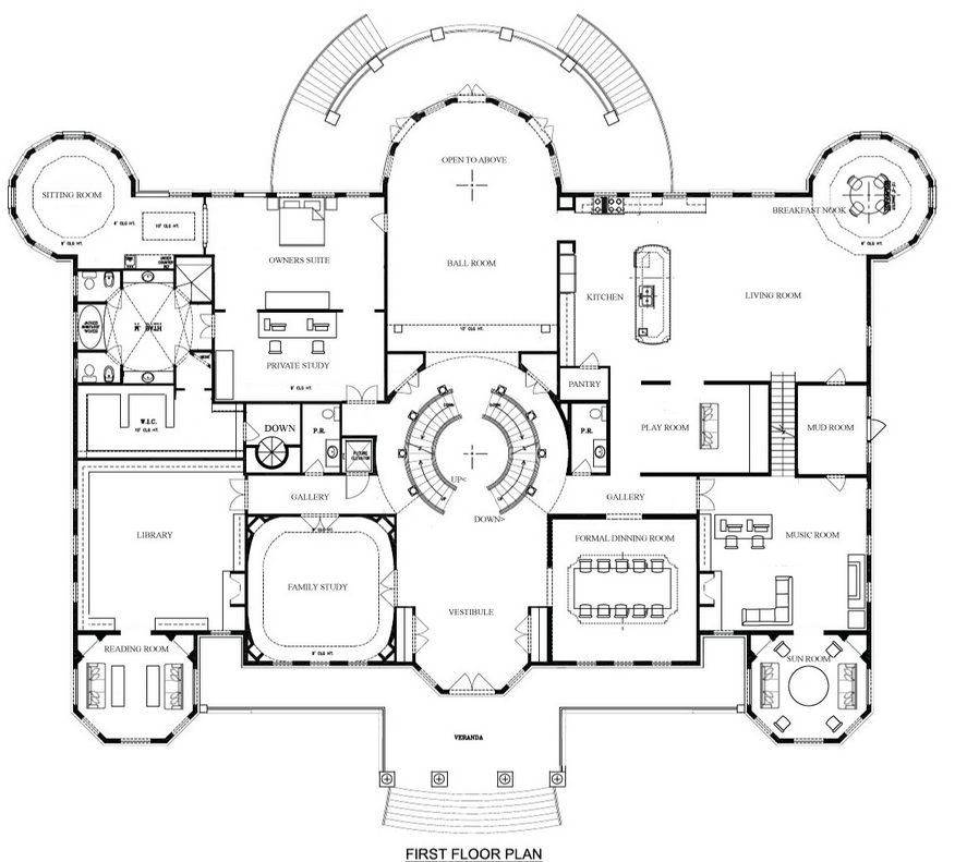 a hotr readers revised floor plans to a 17000 square foot mansion - Mansion House Plans