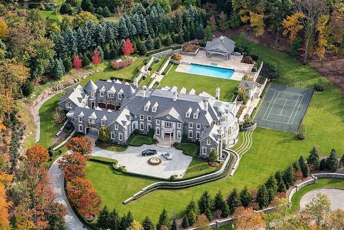Updated aerial pics of the stone mansion in alpine nj for 30000 square foot house plans