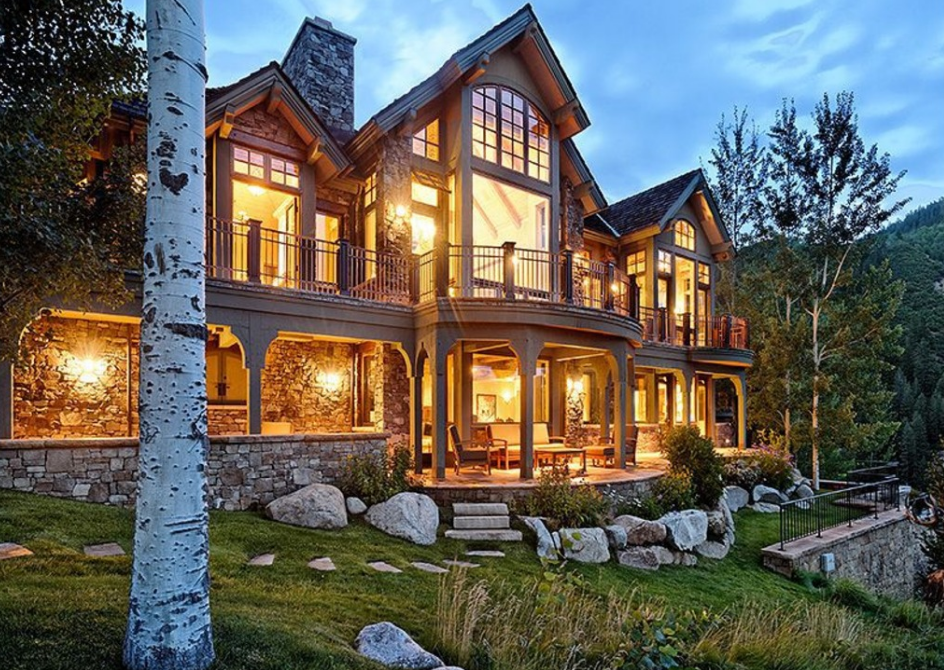 16 million mountaintop stone mansion in aspen co homes for Mountain home designs colorado