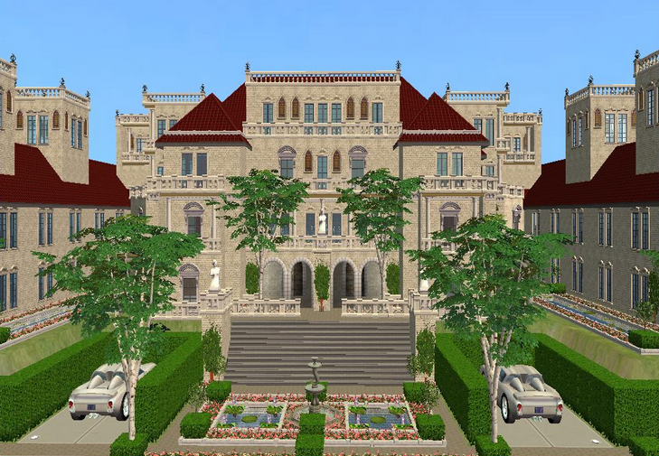 A look at some mansions made on the sims homes of the rich for Pretty mansions