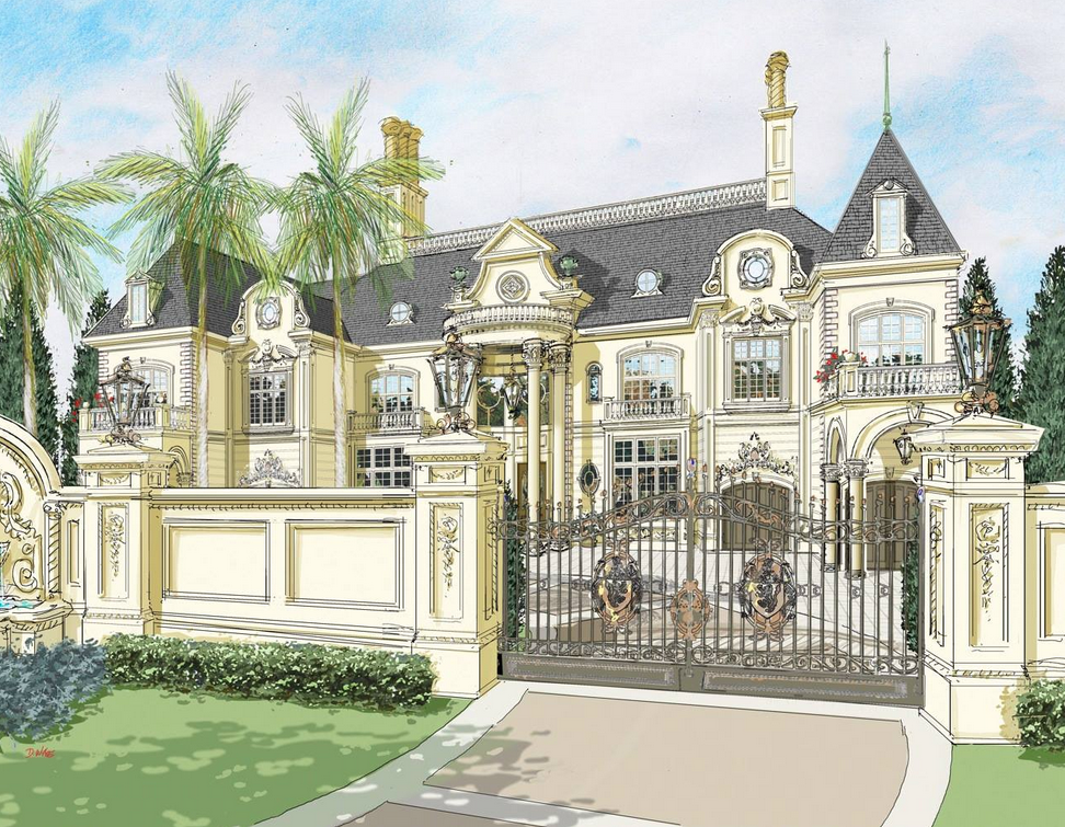 Renderings of a french chateau in nigeria by d alessio for French chateau kitchen designs