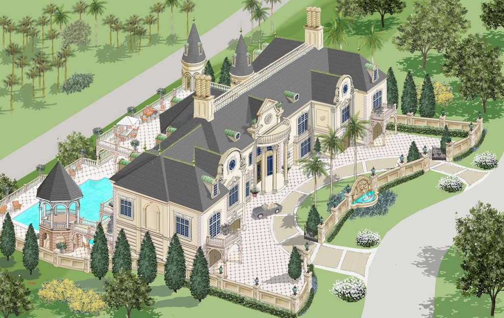Renderings Of A French Chateau In Nigeria By D'Alessio Inspired Architectural Designs Homes of - 10 Bedroom Floor Plans