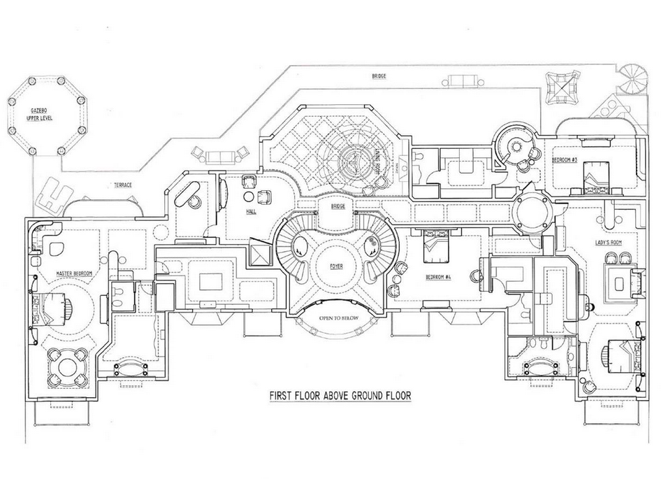 Renderings of a french chateau in nigeria by d alessio for French chateau floor plans
