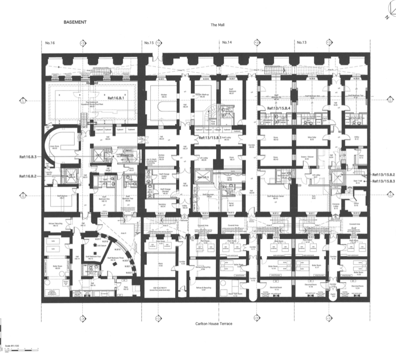 Floor plans to 13 16 carlton house terrace in london House plans mansion