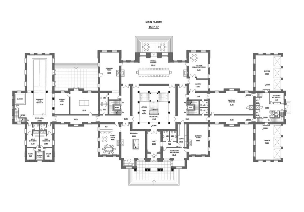 A hotr reader s 50 000 square foot mega mansion design Mega mansion floor plans