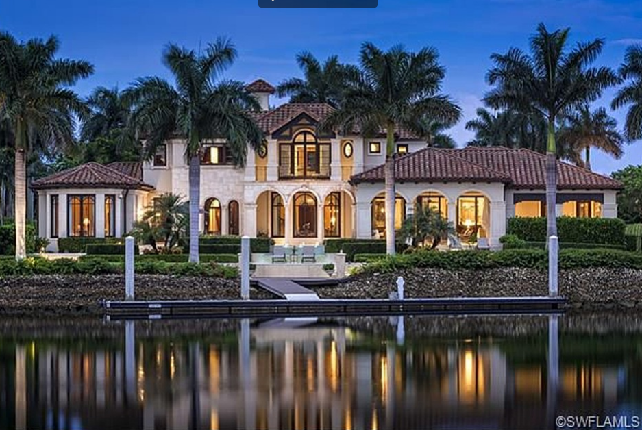 15 9 million mediterranean waterfront mansion in naples for Florida estates for sale