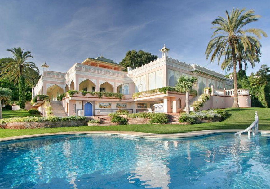 16,000 square foot indian & moroccan inspired mansion in marbella