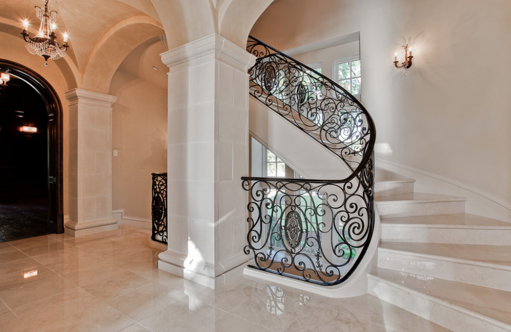 Nice Curved Staircase In Stone Mansion Luxury Stairs Gallery