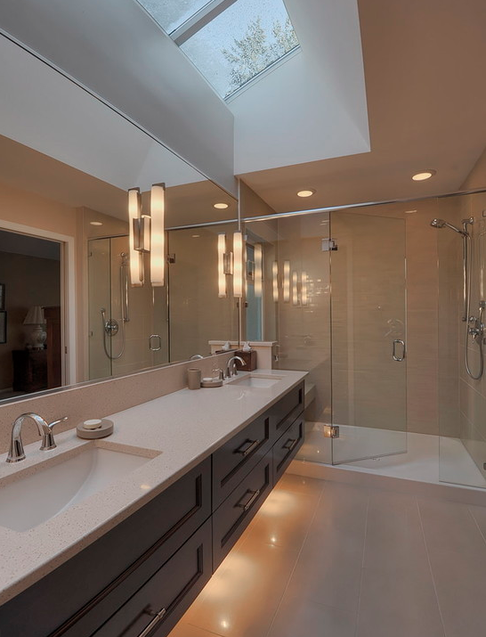bathroom under cabinet lighting a look at some master bathrooms with skylights homes of 11749