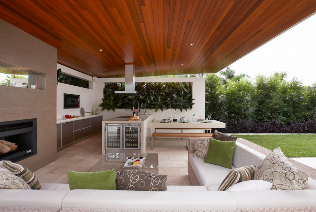 A look at some outdoor kitchens from homes of for Outdoor living space plans