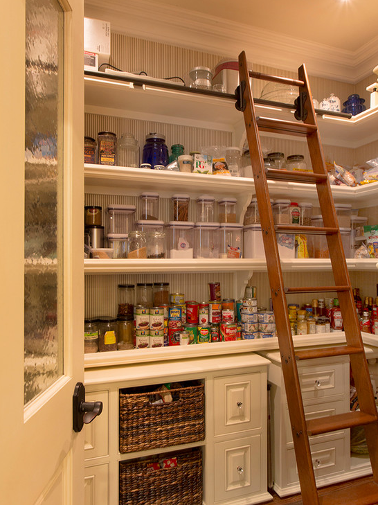 A look at some walk in pantries from homes of for Country kitchen pantry ideas