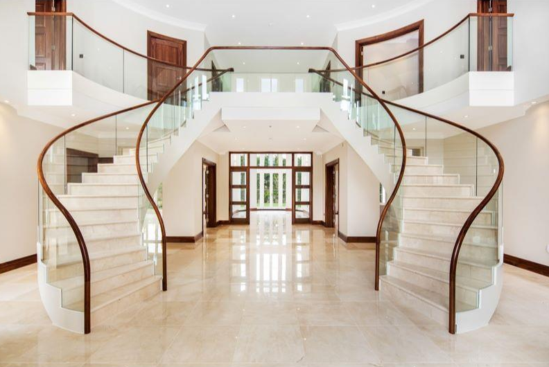 Luxury stairs gallery new english marble double stairway for Double curved staircase