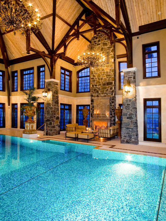 Amazing 3-Story Indoor Swimming Pool With Water Slide & Rock ...
